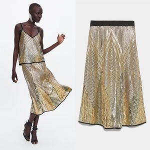 Zara Limited Edition Metallic Gold Sequin Skirt